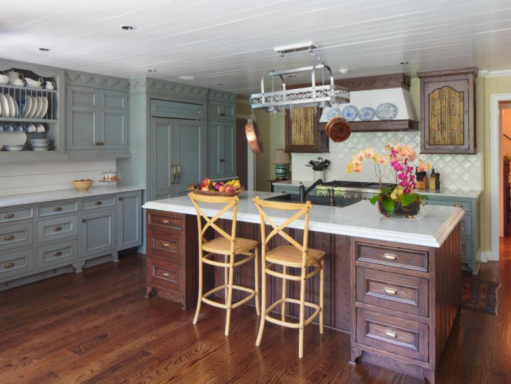 Antique Blue Cabinets for Kitchen