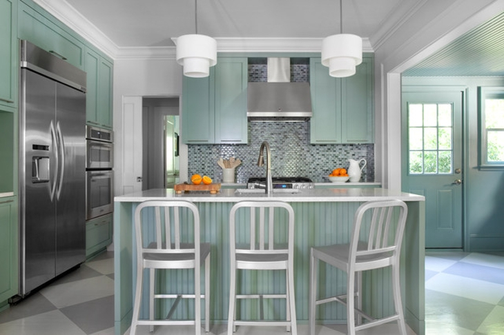 Cottage Kitchen Contemporary Green Cabinets Design
