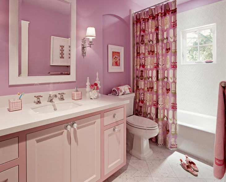 Pretty Pink Girls Bathroom Idea