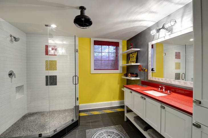 Eclectic Bathroom with Red Countertop