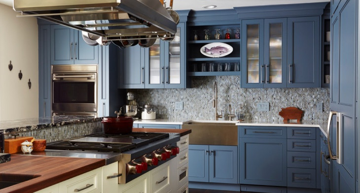 blue cabinets in kitchen blue kitchen cabinets design trends premium psd 12474