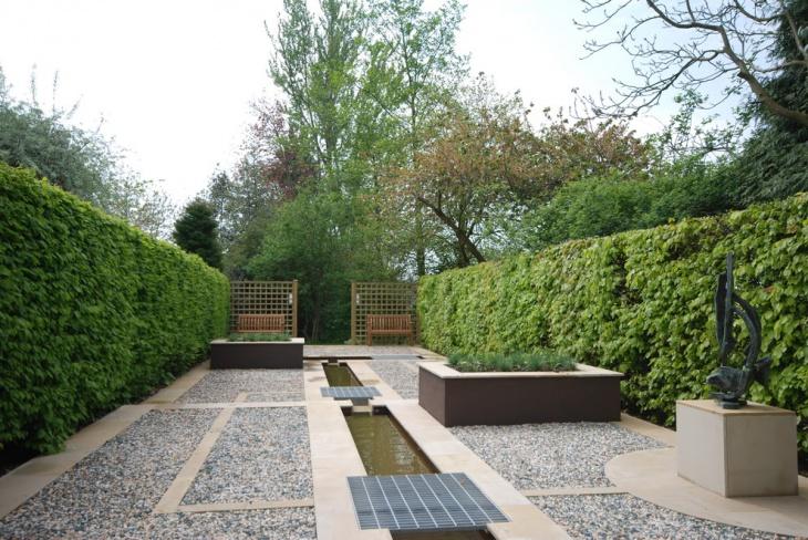 spacious gravel garden landscape
