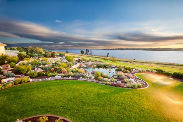 Elegant Garden Landscape with Lake View