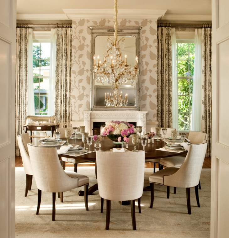 Round Dining Room with Chandelier