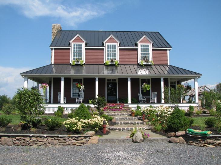 20 front porch roof designs ideas design trends for Farmhouse metal roof
