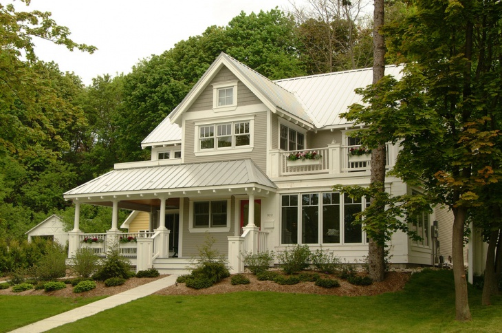 white front porch roof design