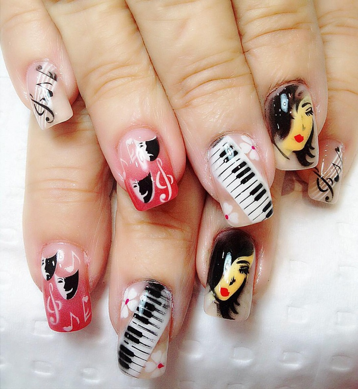 white and pink music note nails