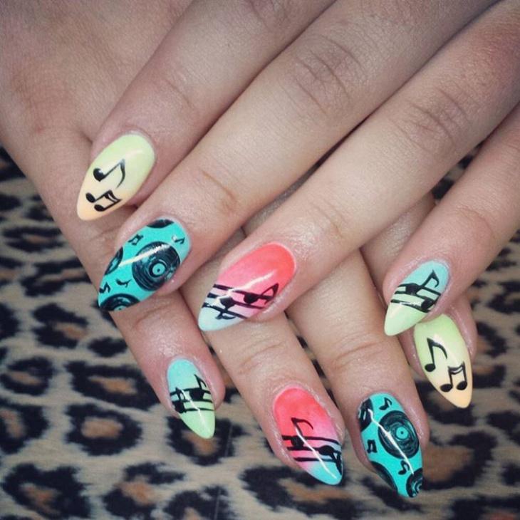 colorful musical nail art