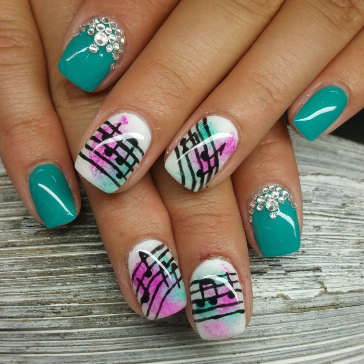 Creative Musical Nail Design - 20+ Music Note Nail Art Designs, Ideas Design Trends - Premium