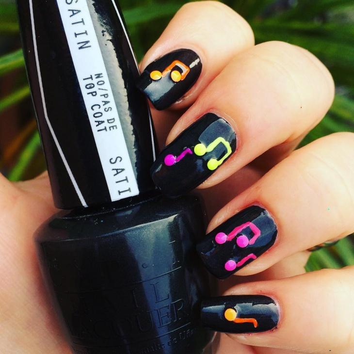 black music gel nail design
