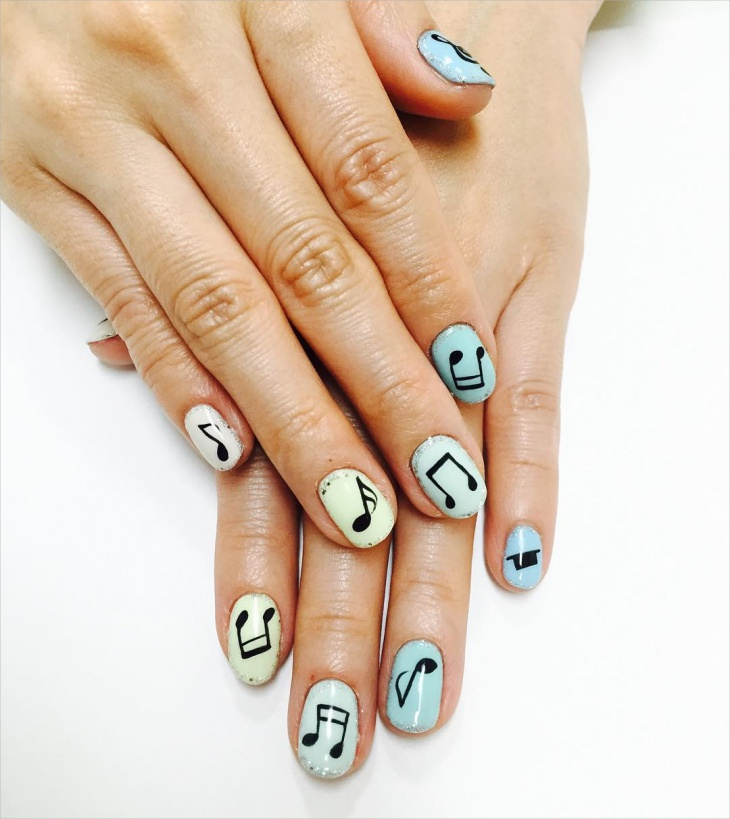 easy music note nail art