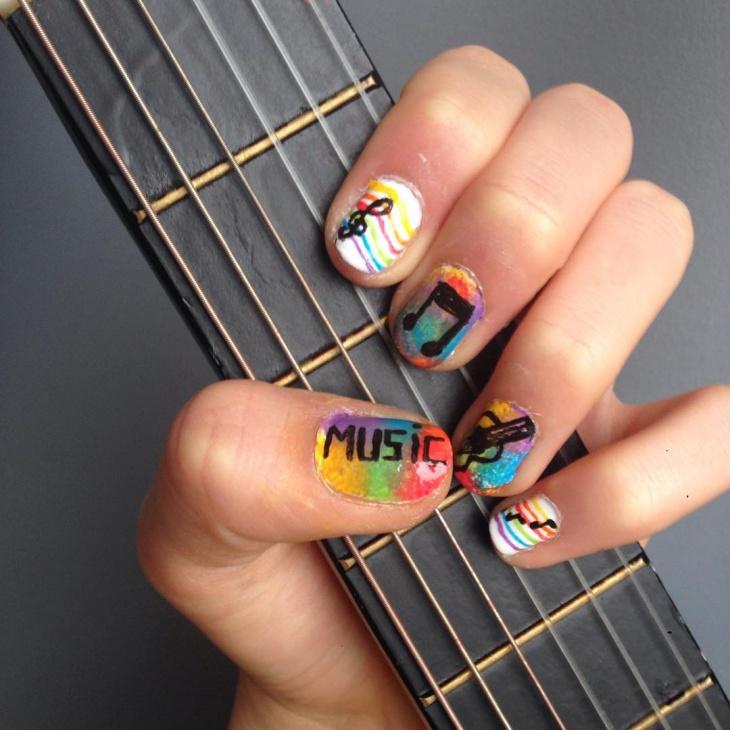 colorful music nail design