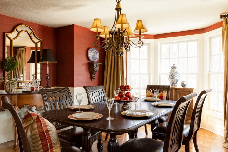 Red and White Dining Space Interior