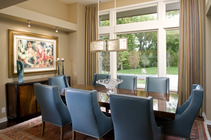Contemporary Dining Area with Blue Chairs