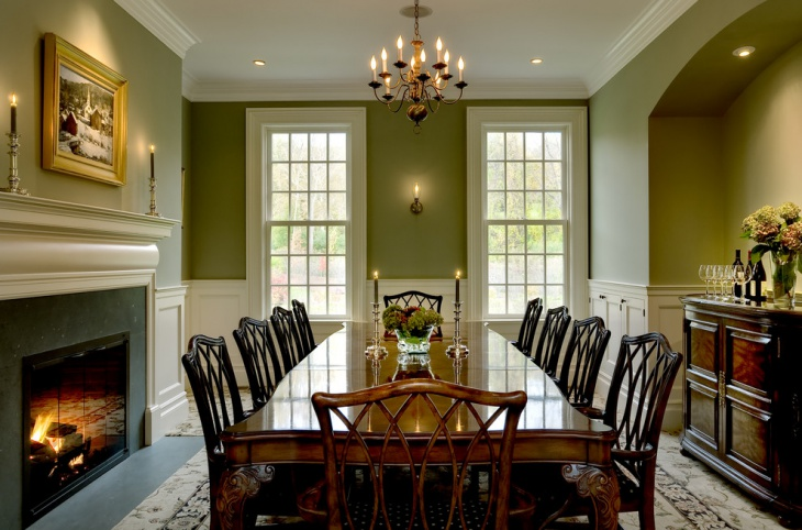 Green and White Dining Room with Fireplace
