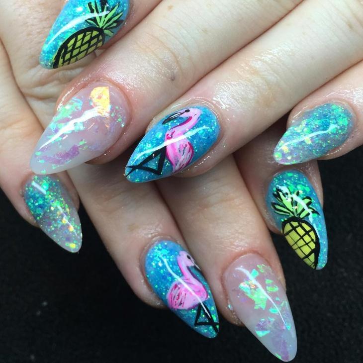 blue swan nail design