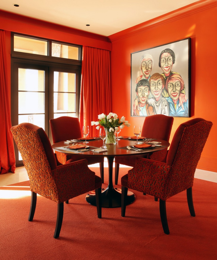 Contemporary Dining Room with Orange Wall