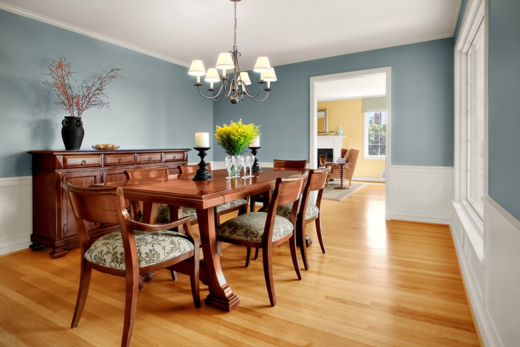 Colorful Dining Room with Polished Floor