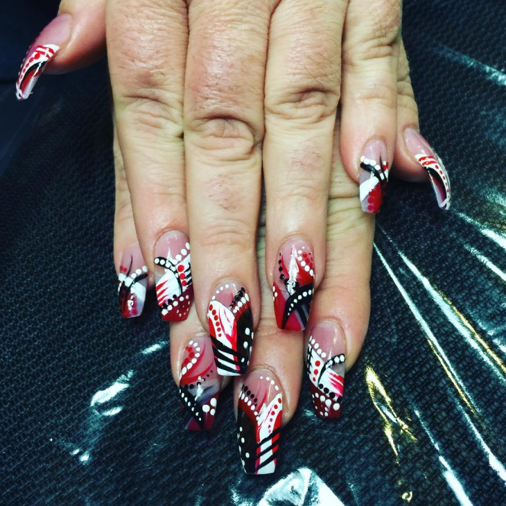 Red and Black Dotted Nail Design