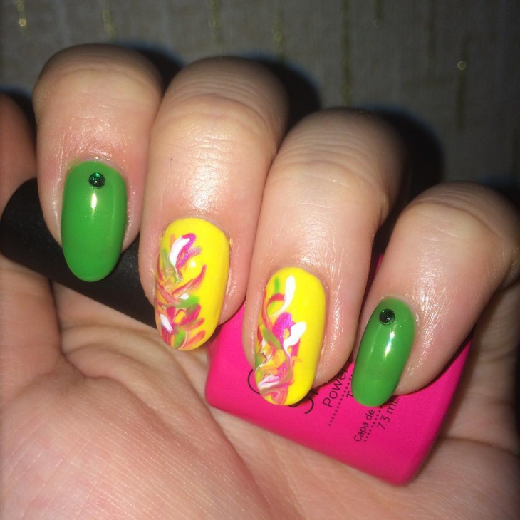 Yellow and Green Nail Design