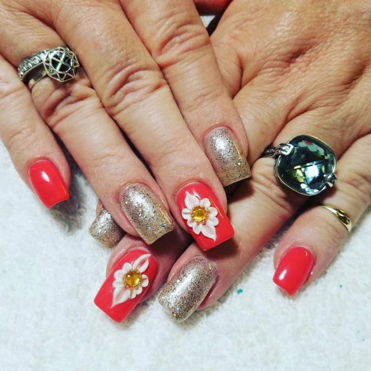 Flower Summer Nail Design