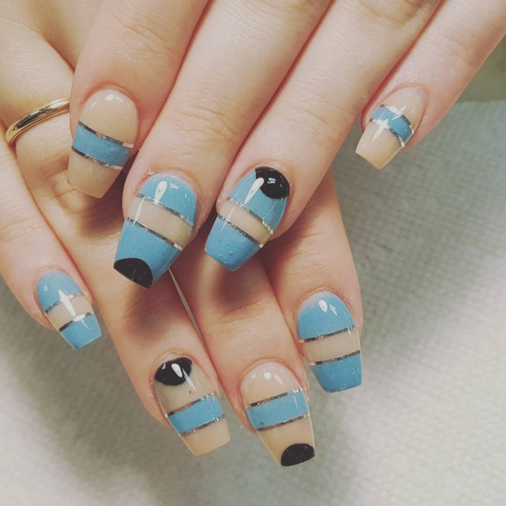 Blue and Black Nail Design