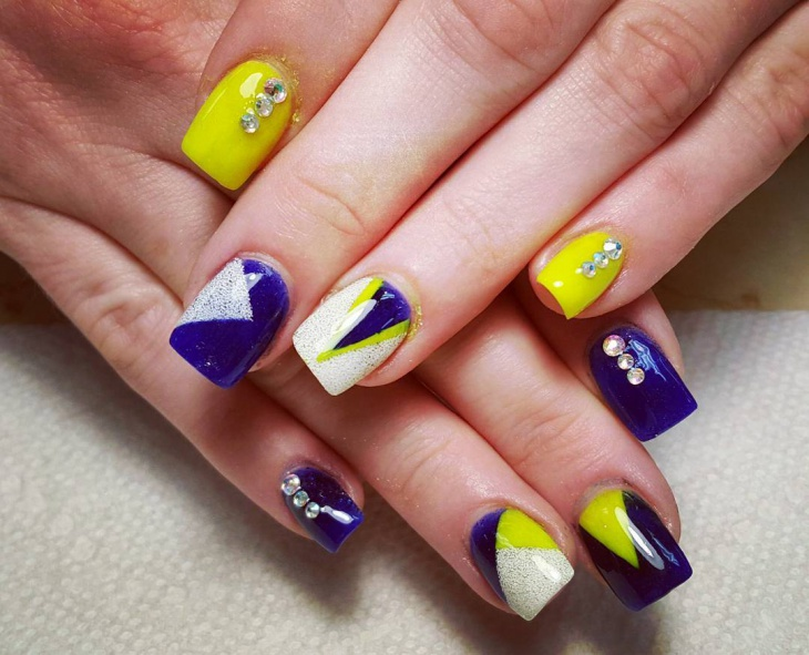 Blue and Yellow Gel Nail Design