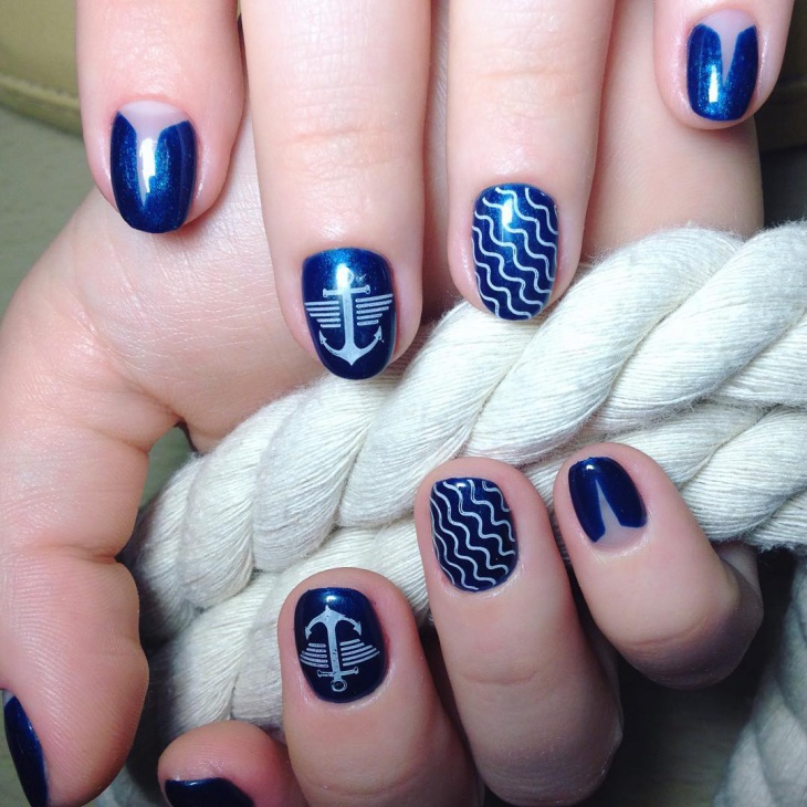 Blue Anchor Nail Art