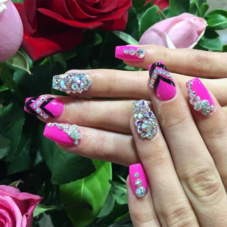 pink rhinestone nail design