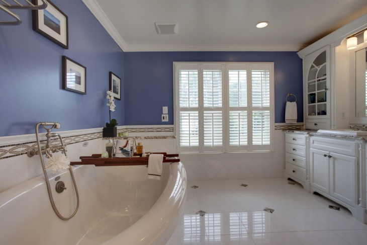 dark blue and white bathroom
