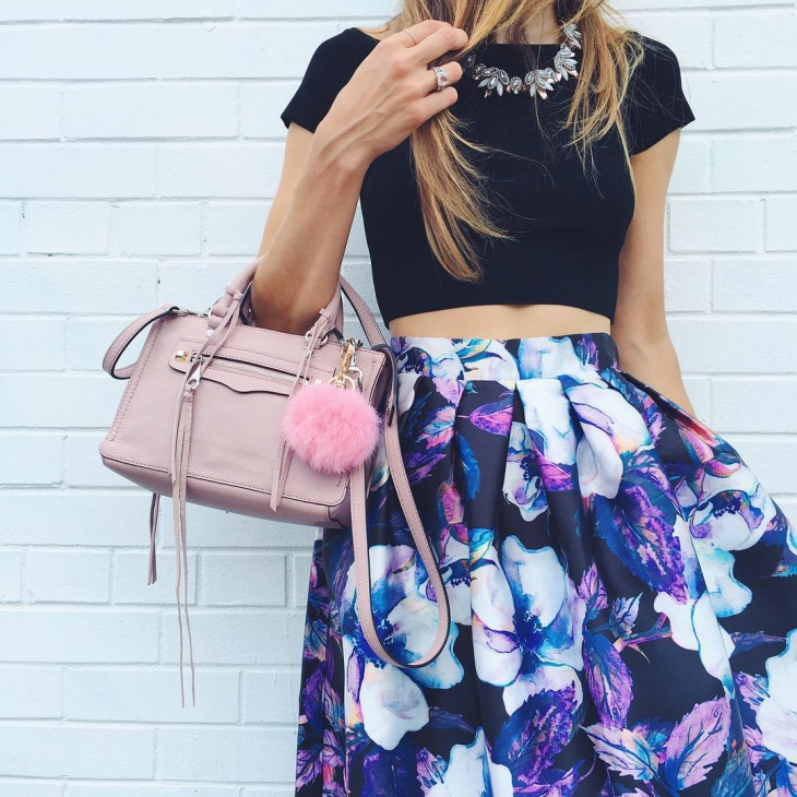 Black Floral Skirt Idea