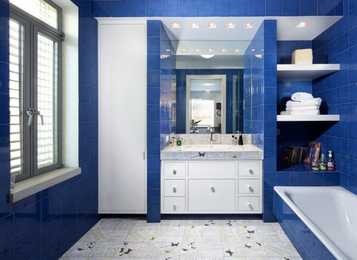 Superieur Best Decor With Blue And White Bathroom