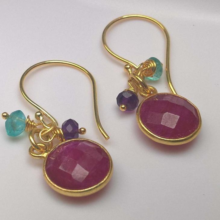 Ruby Beads Earrings Design