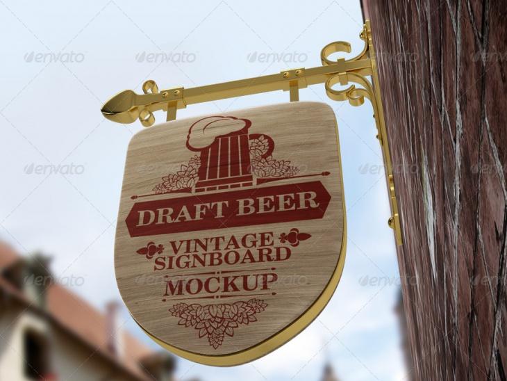vintage signboard shield mockup