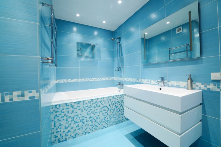 sky blue modern bathroom