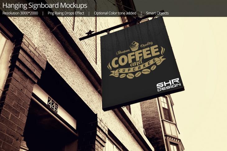 Hanging Signboard Mockup