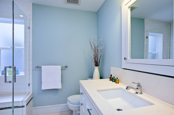 blue bathroom with beach style