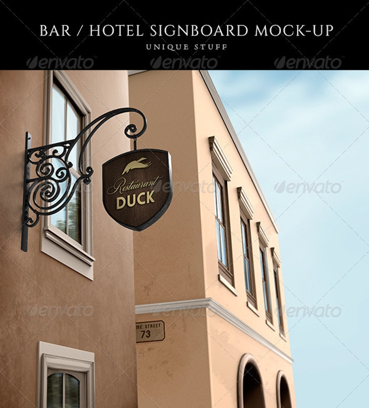 wine bar with restaurant signboard mock up