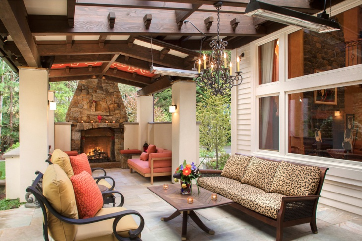 outdoor chandelier with fire place