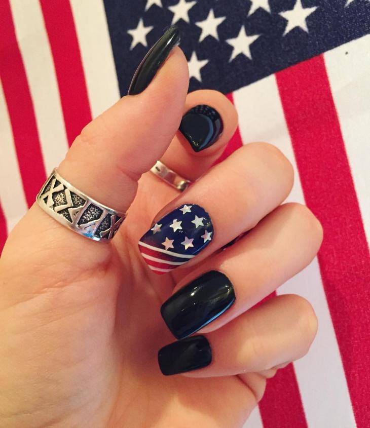 Elegant Flag Art on Black Nails