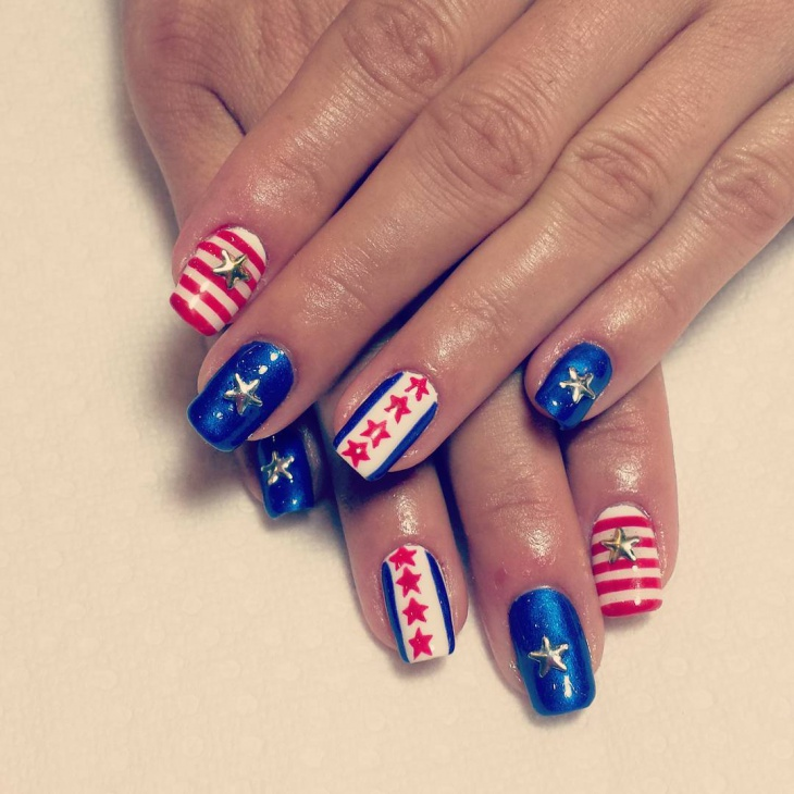 American Flag Shellac Nails