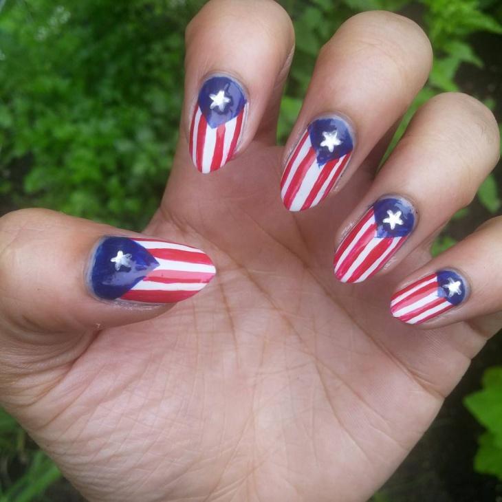 Natural Flag Nail Design