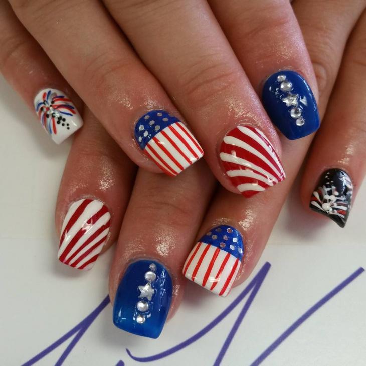 Nice Patriotic Nail Design