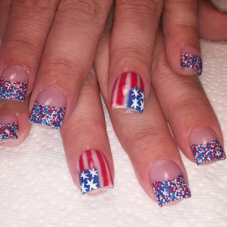 USA Flag Nail Design