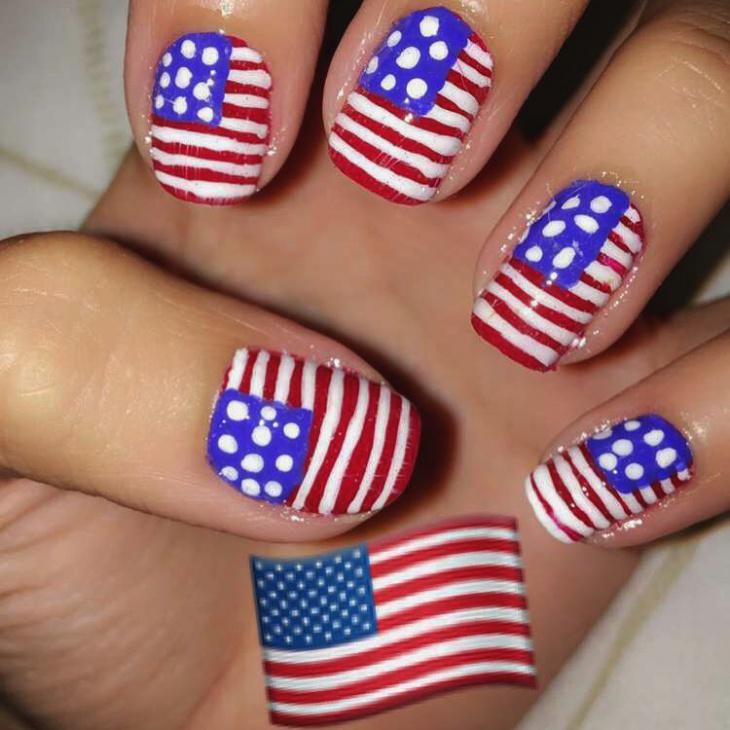 Beautiful Flag Nail Art for Short Nails