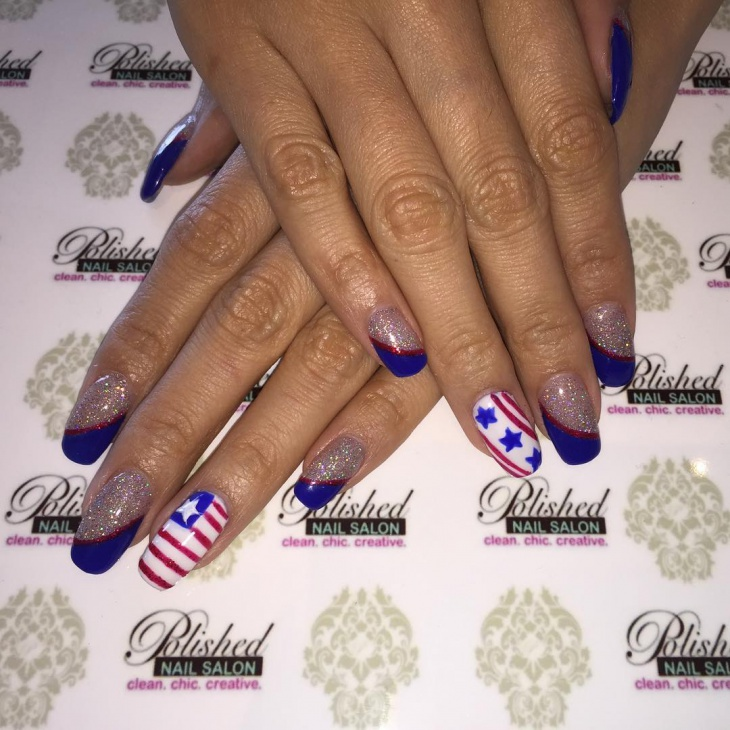 Sparkle Stars and Stripes Nail Art