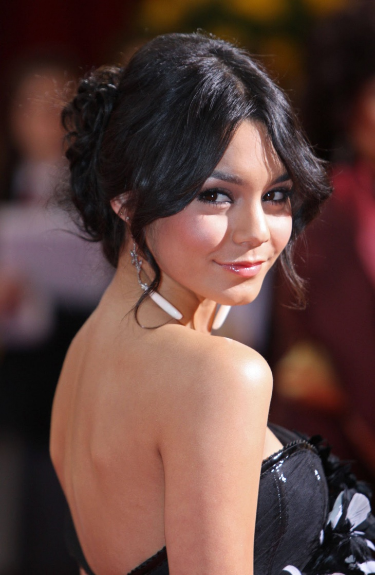 vaneesa hudgens long curls updo