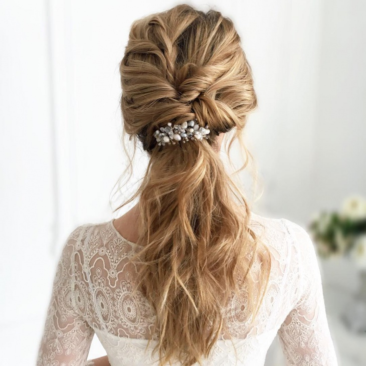 messy updo hairstyle for bride