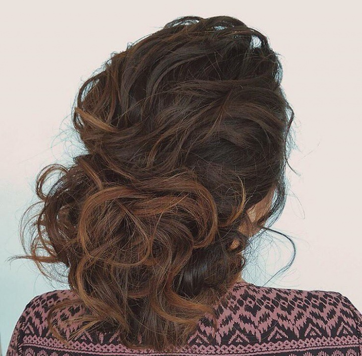 bridal updo hairstyle for curly hair