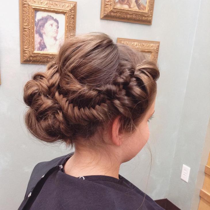 bun braided hairstyle